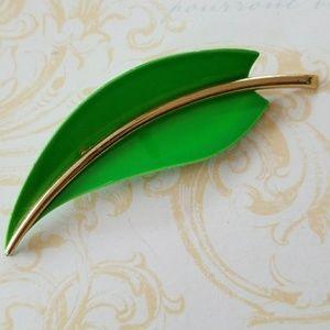 Vintage Enamel Leaf Brooch Pin
